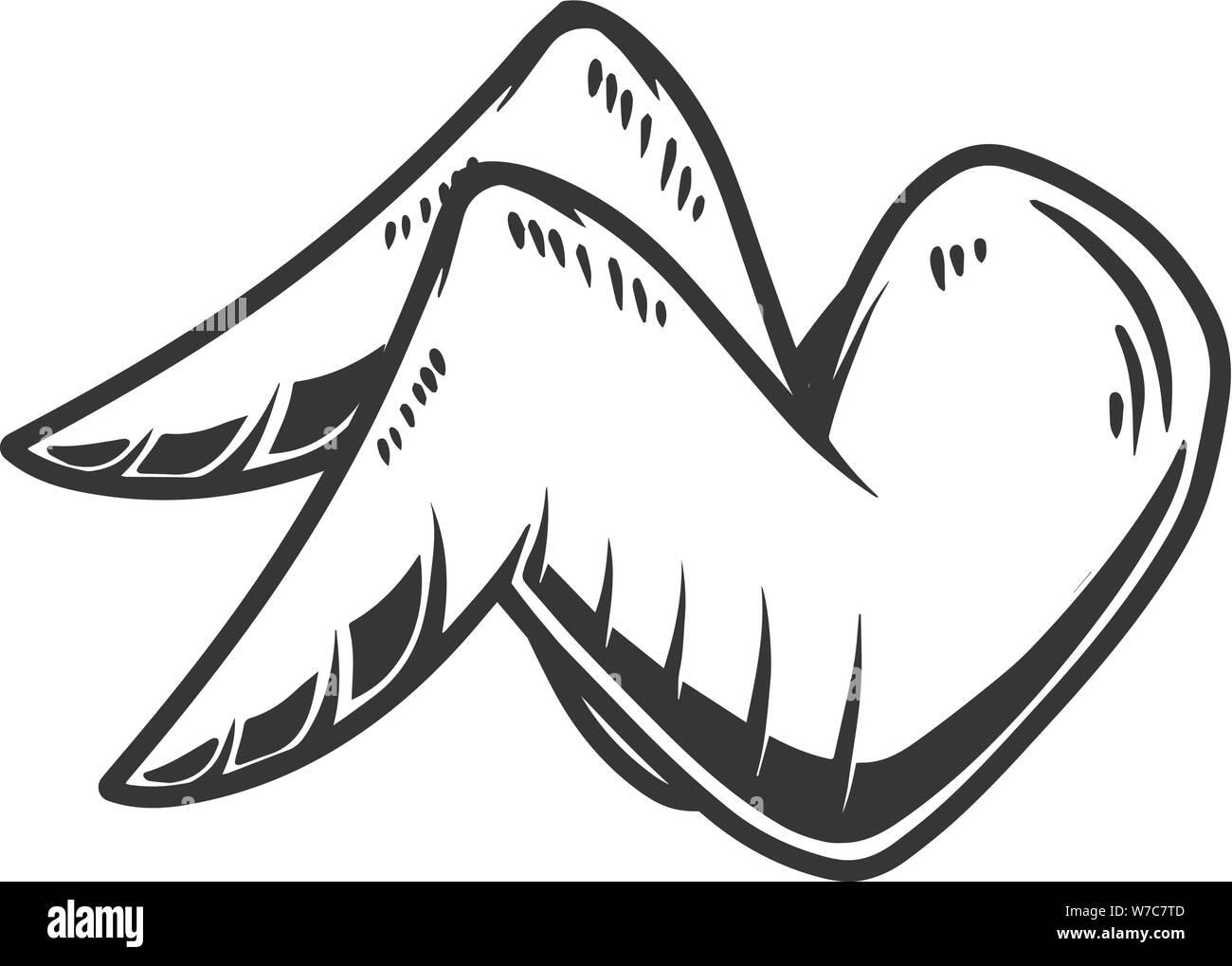 Chicken wings on white background. Design element for logo, label, sign, poster, card, banner, flyer. Vector illustration, Chicken wings on white back Stock Vector