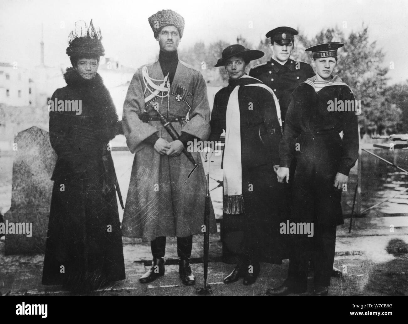 Empress Maria Fyodorovna, Grand Duke Michael Alexandrovich, Grand Duchess Xenia Alexandrovna with ch Stock Photo