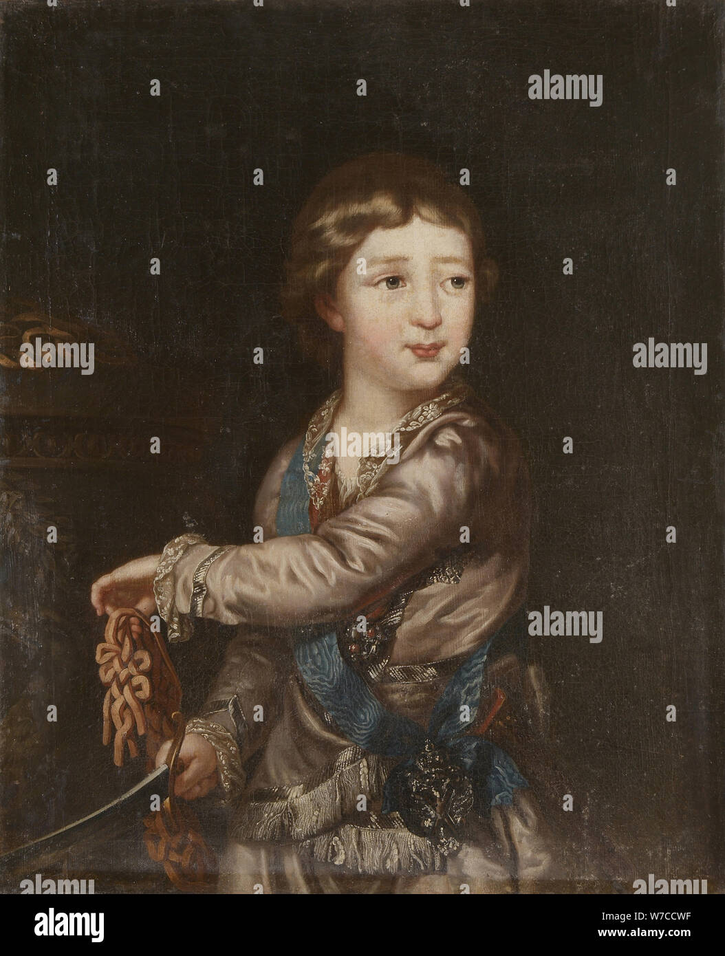 Portrait of Grand Duke Alexander Pavlovich (1777-1825) as Child. Stock Photo