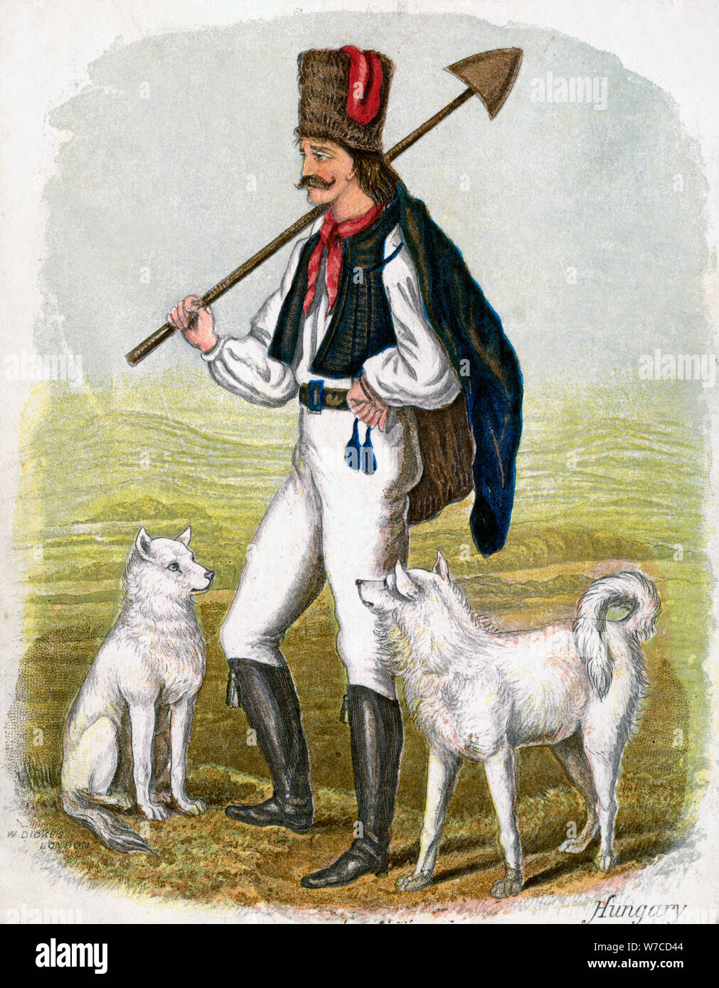 'Hungarian Man with Dogs', 1809.Artist: W Dickes Stock Photo