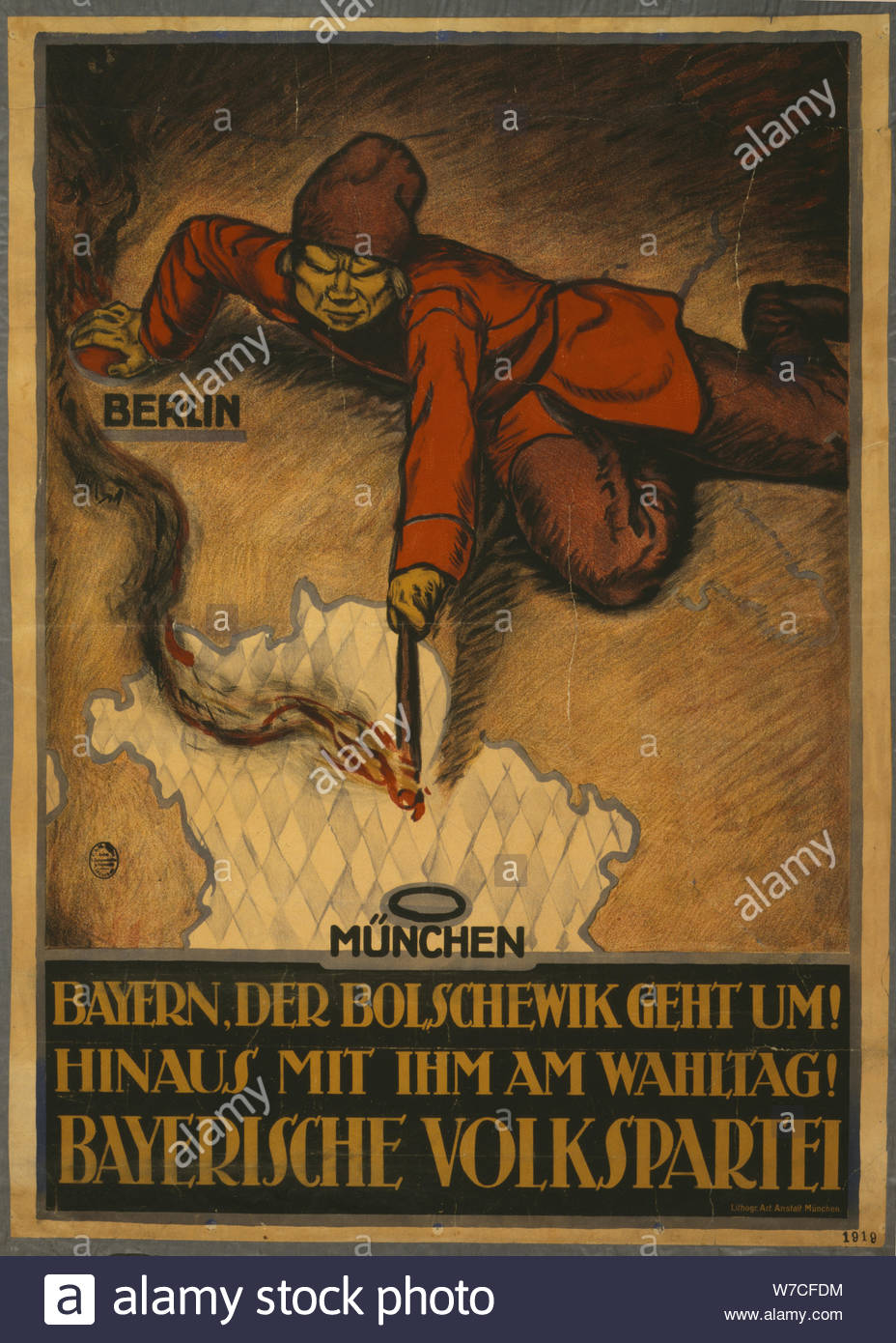 German WW1 Propaganda Poster for a strong Bavaria Bavarian People/'s Party