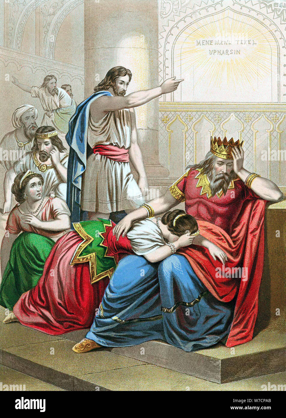 BELSHAZZAR'S FEAST FINGER OF GOD WRITING ON WALL PAINTING BIBLE ART CANVAS PRINT