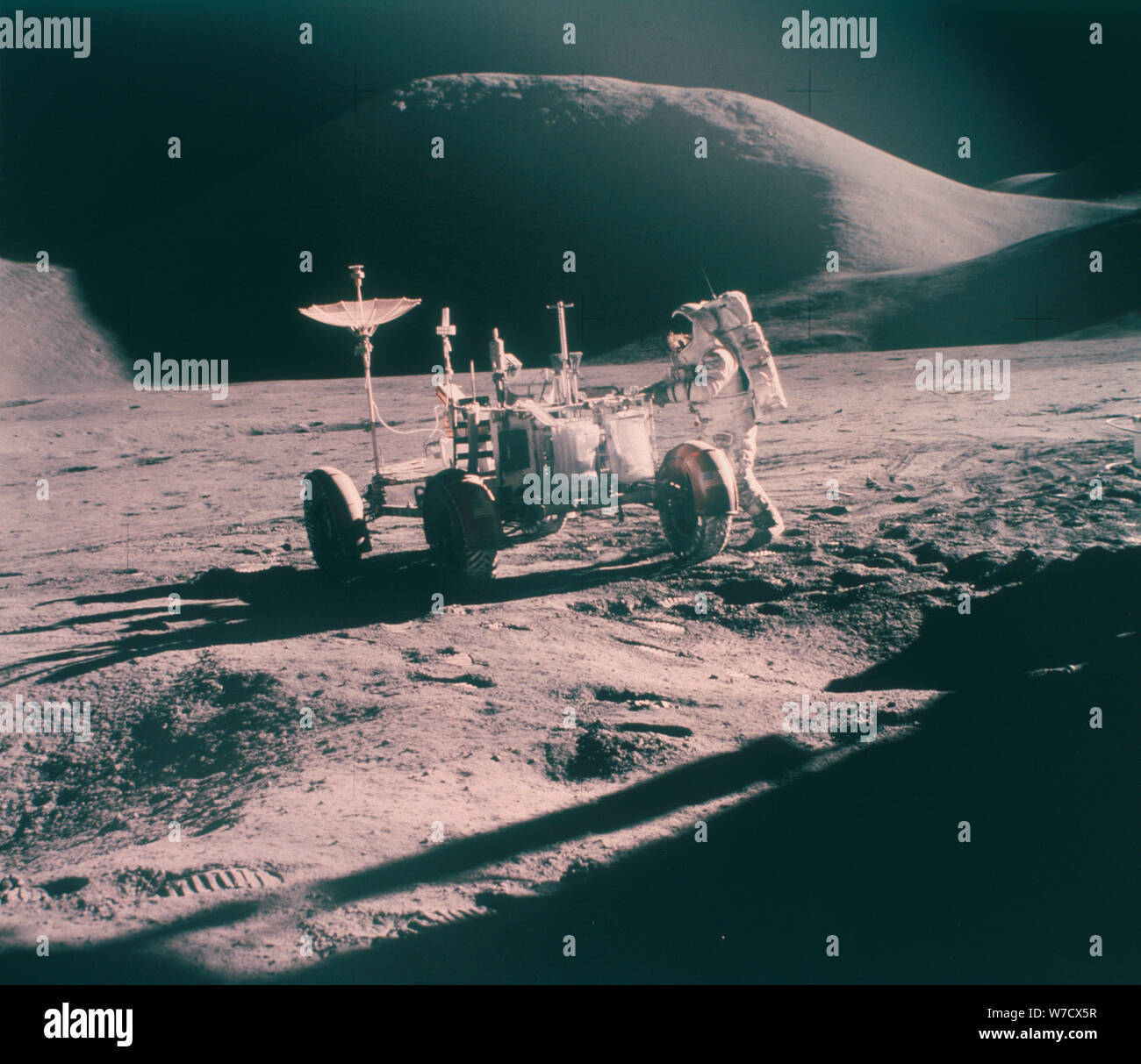 NASA 1970 Apollo 15 Moon Mission First Use Lunar Rover Art Print Poster Space