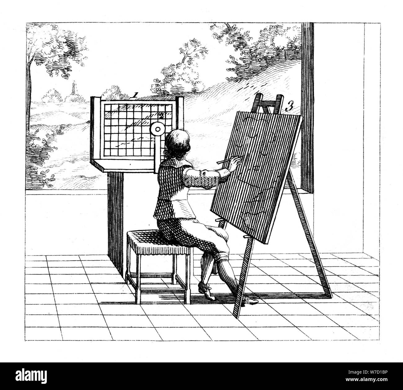 Figure Practising Perspective Drawing 1639 Artist Unknown