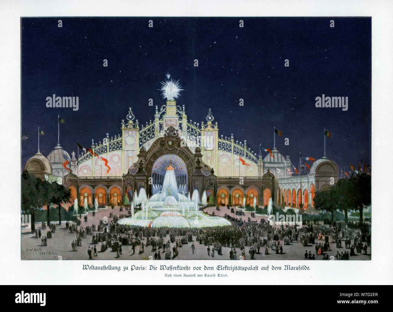 Fountains at the Palace of Electricity, Champ de Mars, Paris World Exposition 1889, (1900).Artist: Ewald Thiel Stock Photo