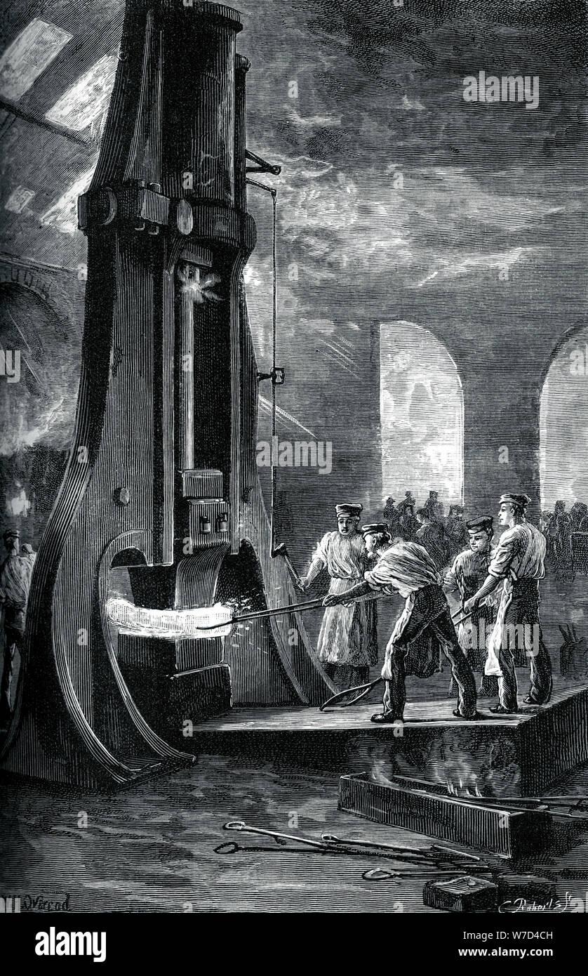 Nasmyth's steam hammer at work, (c1880). Artist: Roberts Stock Photo