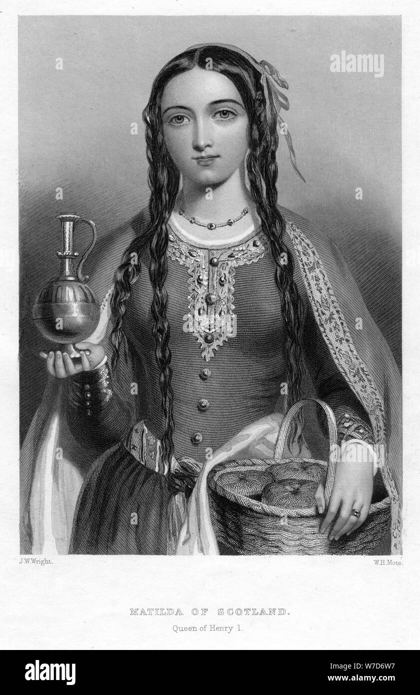 Matilda of Scotland, Queen of Henry I, (c1850s). Artist: WH Mote Stock Photo