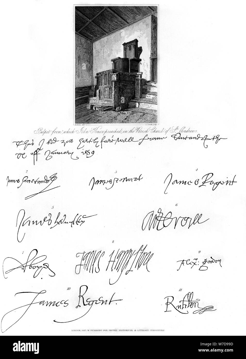 The pulpit of John Knox, and signatures of several eminent personages, 16th century, (1840).Artist: C J Smith Stock Photo