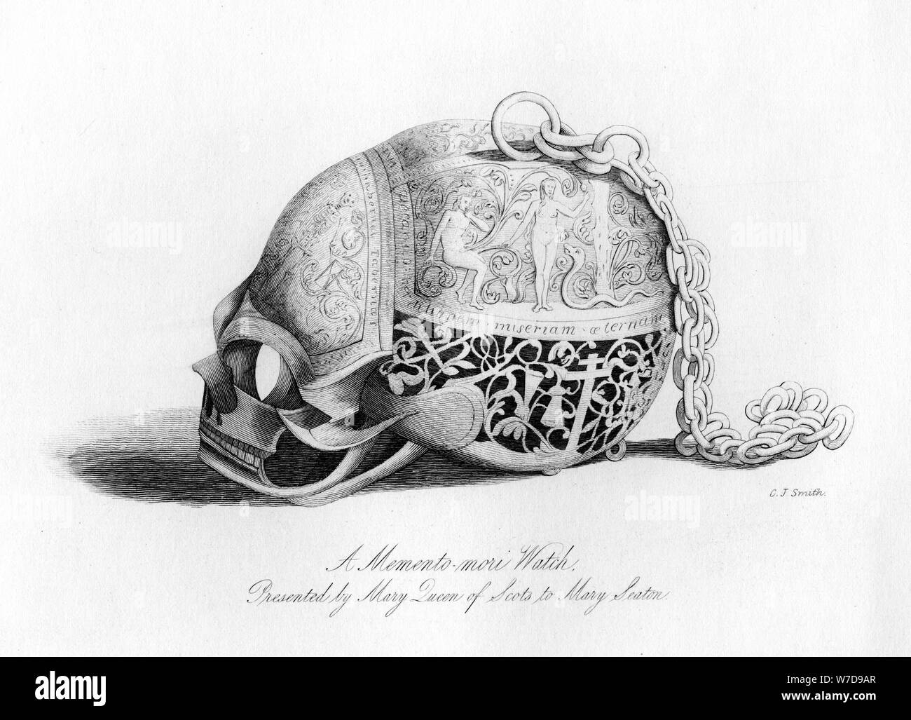 Memento-Mori watch presented by Mary Queen of Scots to Mary Seaton, 16th century, (1840).Artist: C J Smith Stock Photo