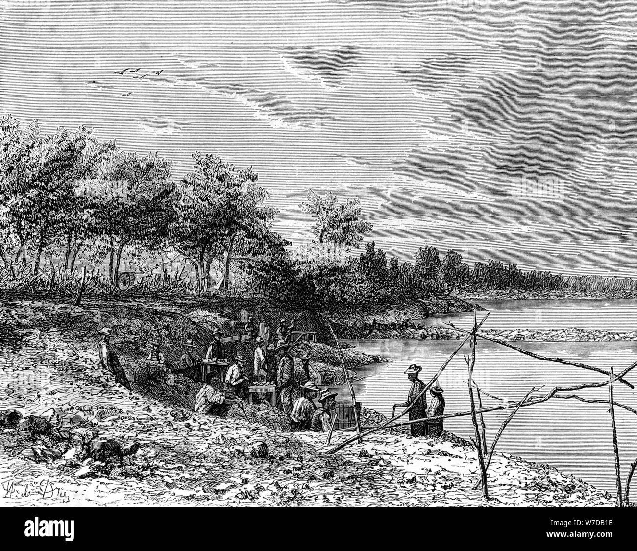 SOUTH AFRICA Pontoon over the Vaal River at Klipdrift Antique Print 1874