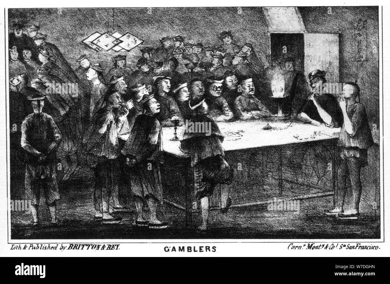 Gambling during the Californian gold rush, 19th century (1937).Artist: Britton & Rey Stock Photo