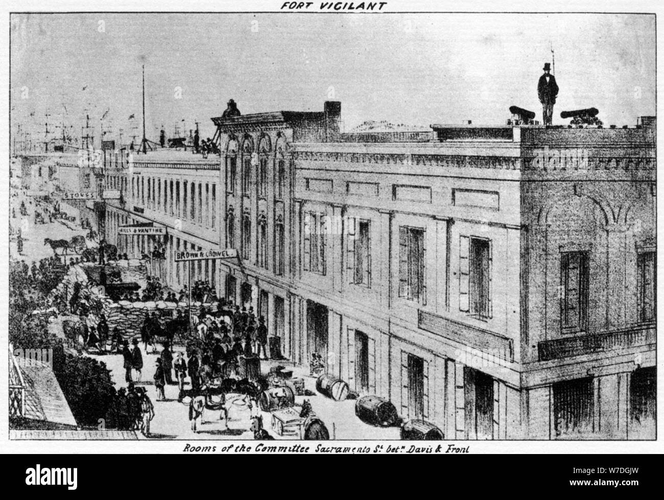 Fort Vigilant, Sacramento, California, 1856 (1937).Artist: Britton & Rey Stock Photo