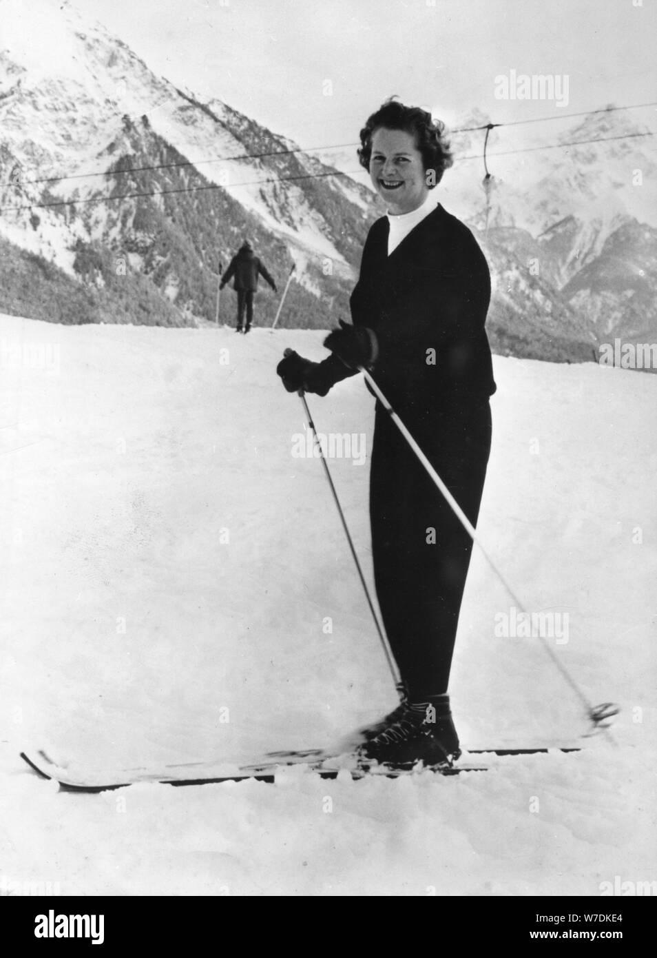 Margaret Thatcher skiing in 1962. Artist: Unknown Stock Photo