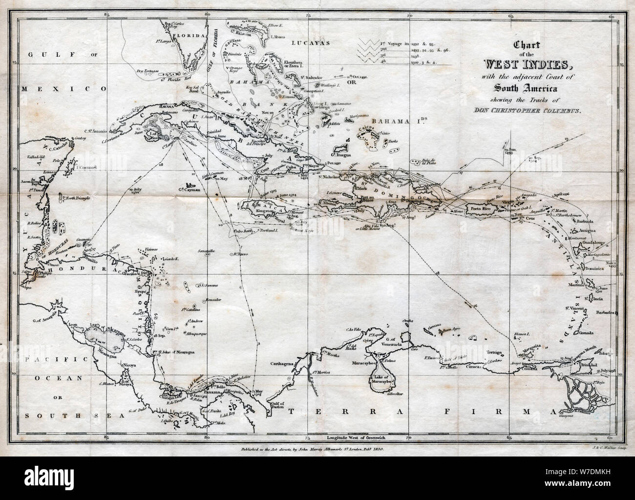 Chart of the West Indies, with the adjacent Coast of South America, 1830. Artist: J&C Walker Stock Photo