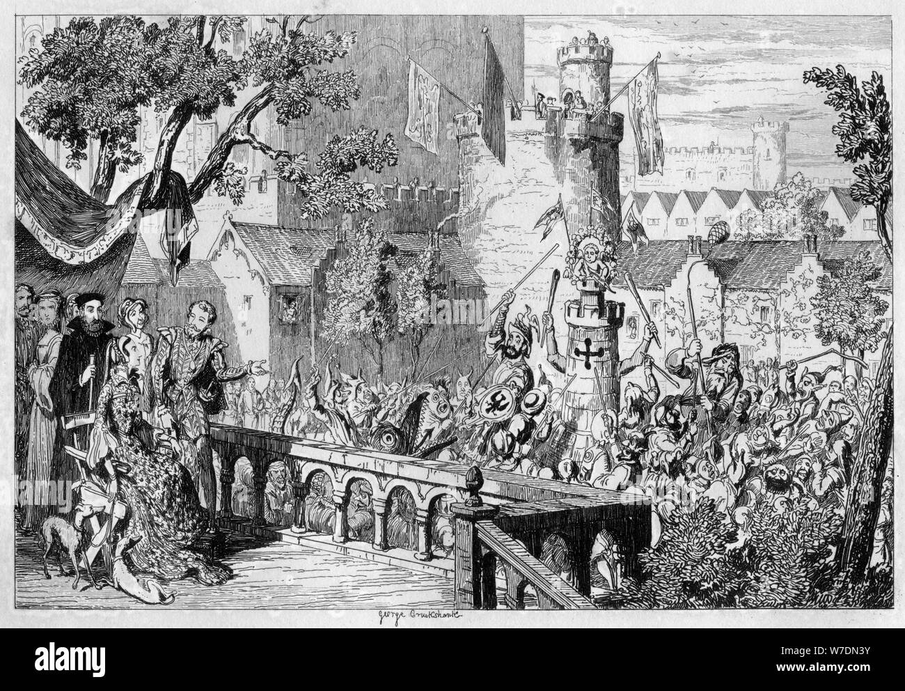 Masque in the palace garden of the Tower of London, 1840.Artist: George Cruikshank Stock Photo