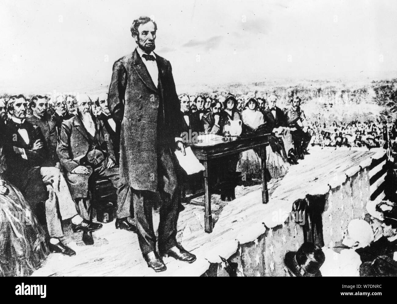 President Abraham Lincoln delivering his Gettysburg Address, 1863. Artist: Unknown Stock Photo