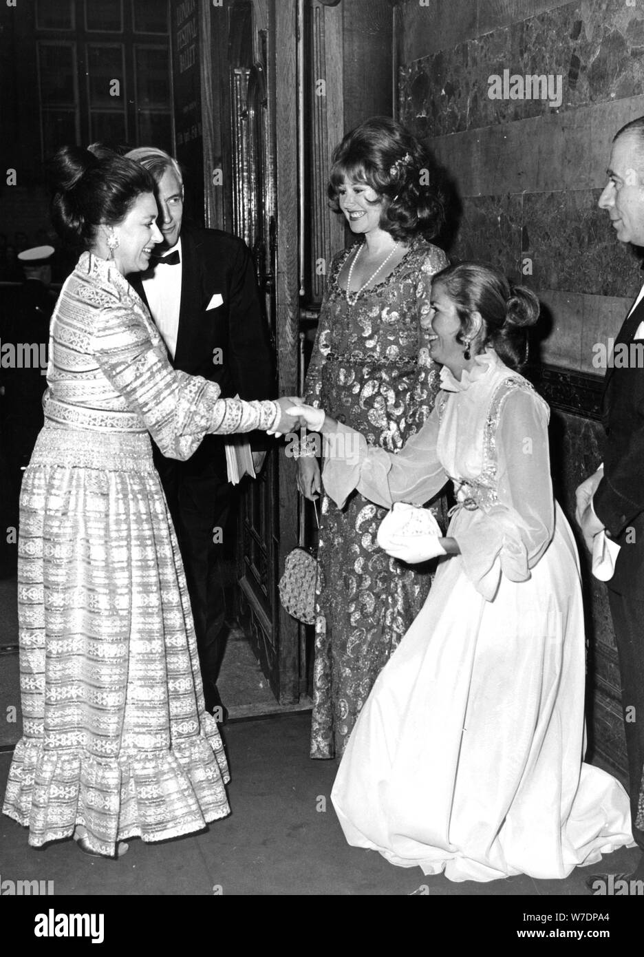 Princess Margaret with Vere Harmsworth and Harold Sebag-Montefiore at the Gala Ballet, 1971. Artist: Unknown Stock Photo
