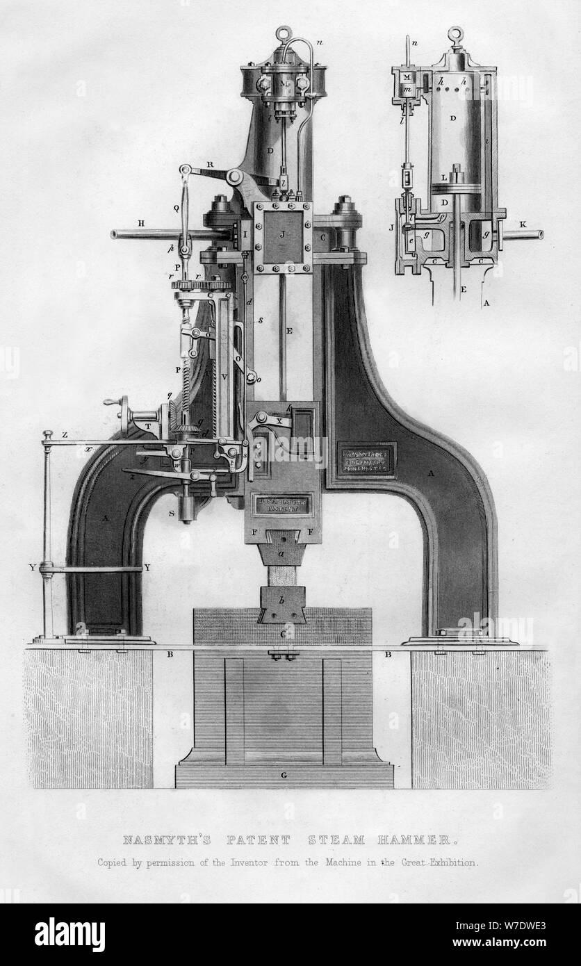 Nasmyth's patent steam hammer, 1866. Artist: Unknown Stock Photo