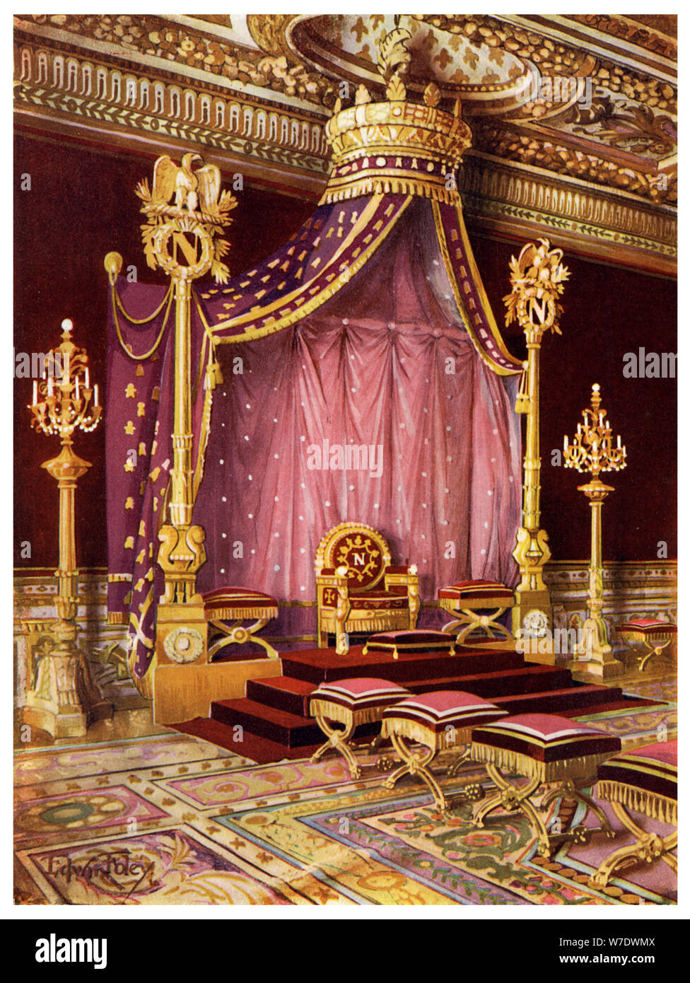 Throne room in the Palace of Fontainebleau, France, 1911