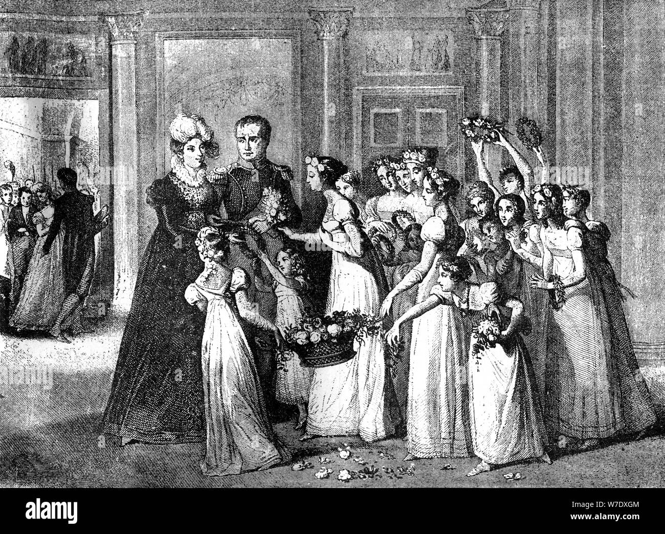 The arrival of Marie-Louise in Compiègne, France, 27th March 1810 (1882-1884). Artist: Unknown Stock Photo