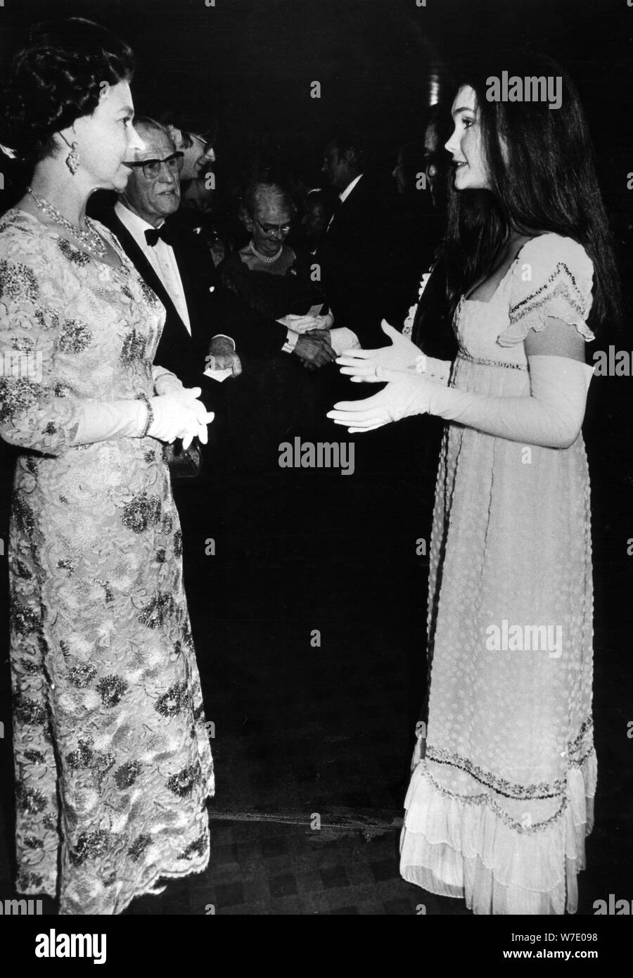 Fiona Fullerton meets the Queen at the premiere of 'Alice's Adventures in Wonderland', 1972. Artist: Unknown Stock Photo