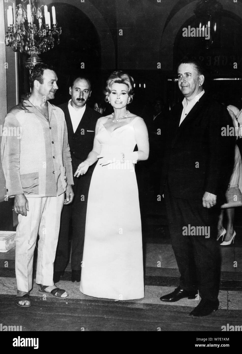 Hungarian-born American Actress Zsa Zsa Gabor and her bodyguards, Nice, France, 1966. Artist: Unknown Stock Photo