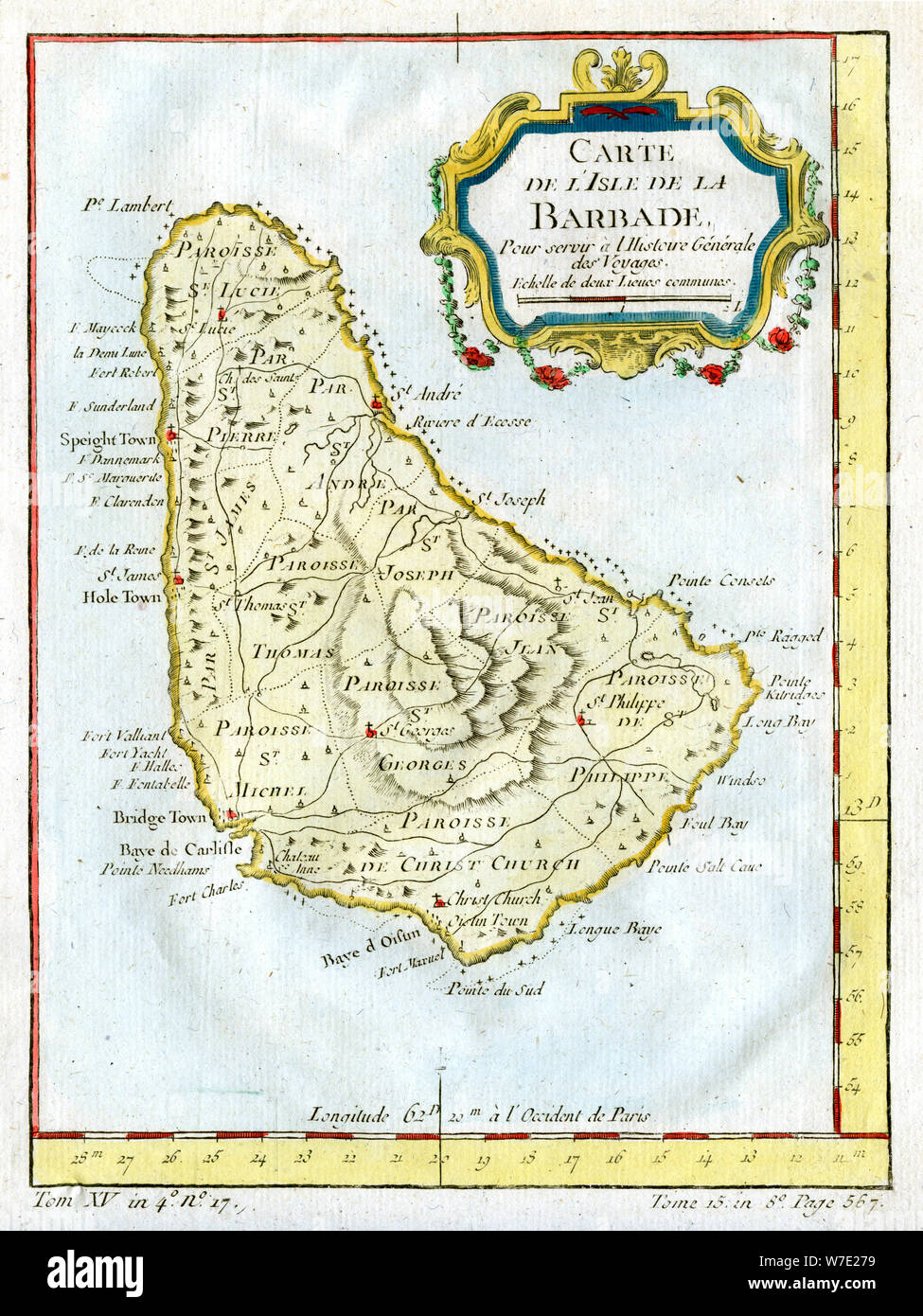 Map of Barbados, c1764. Artist: Unknown Stock Photo