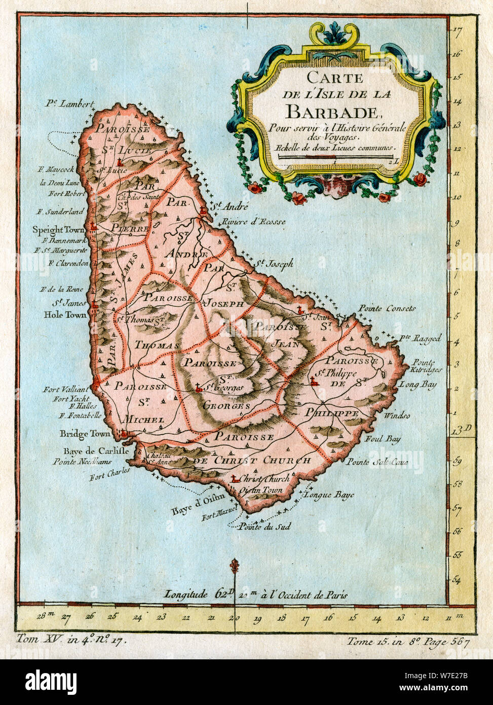 Map of Barbados, c1758. Artist: Unknown Stock Photo