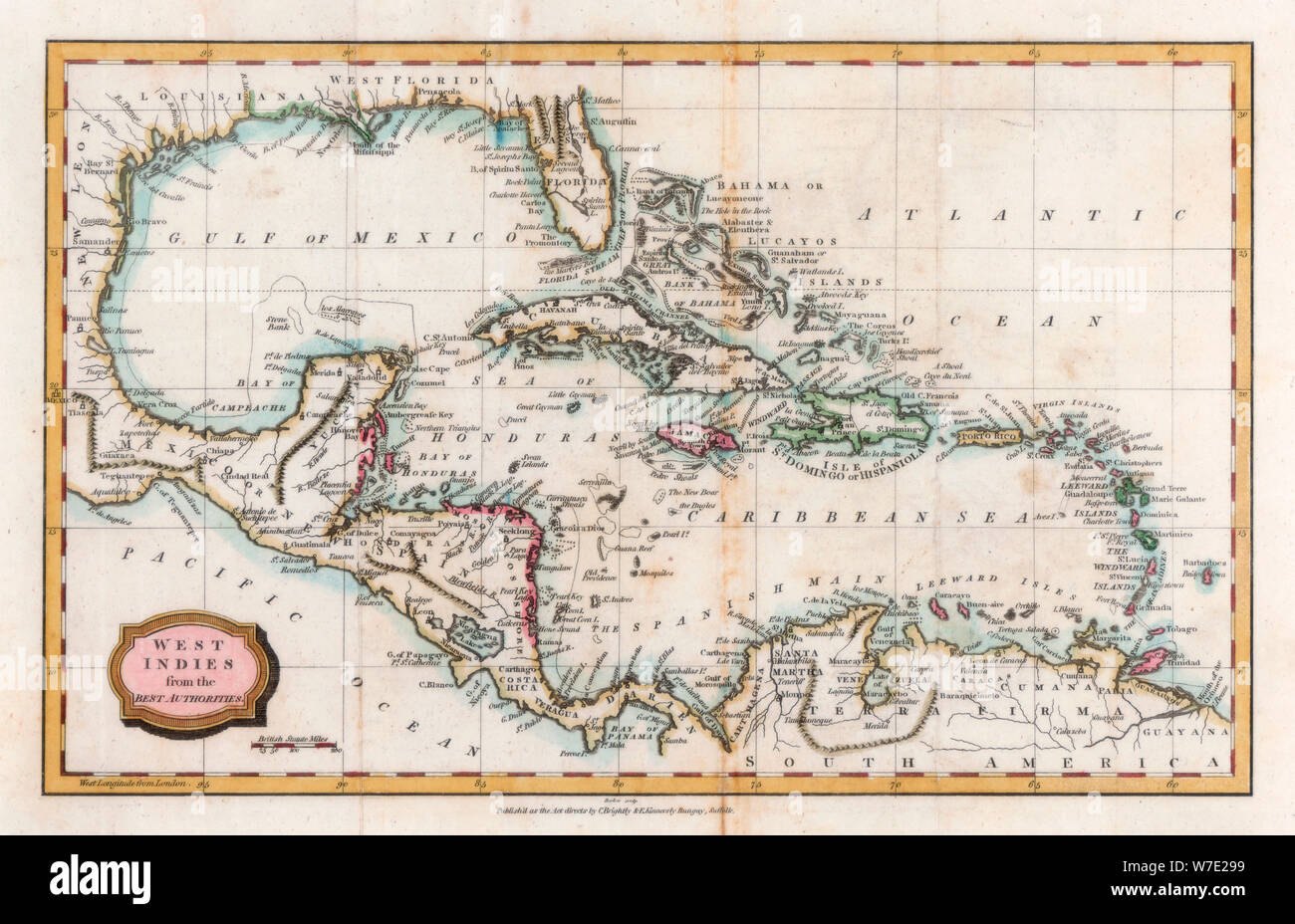 Map of the West Indies, 18th century(?).Artist: Barlow Stock Photo