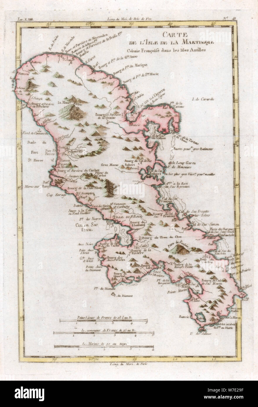 Map of the Caribbean island of Martinique, c1783. Artist: Unknown Stock Photo
