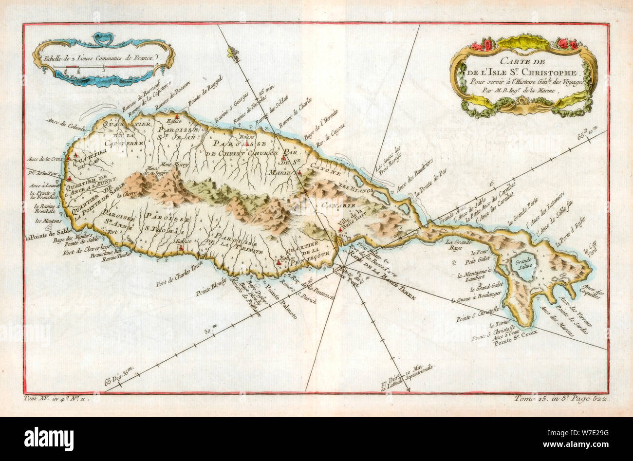Map of the Caribbean island of St Christopher, c1764. Artist: Unknown Stock Photo