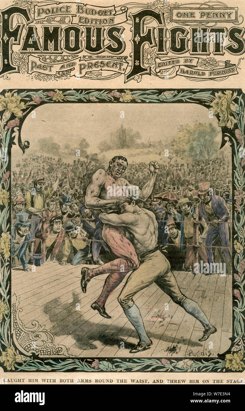 'Caught him with both arms round the waist, and threw him on the stage', c1890-c1909(?).Artist: Pugnis Stock Photo