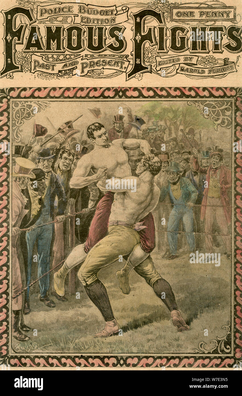 'The second fight between Bendigo and Ben Caunt', 1838 (late 19th or early 20th century).Artist: Pugnis Stock Photo