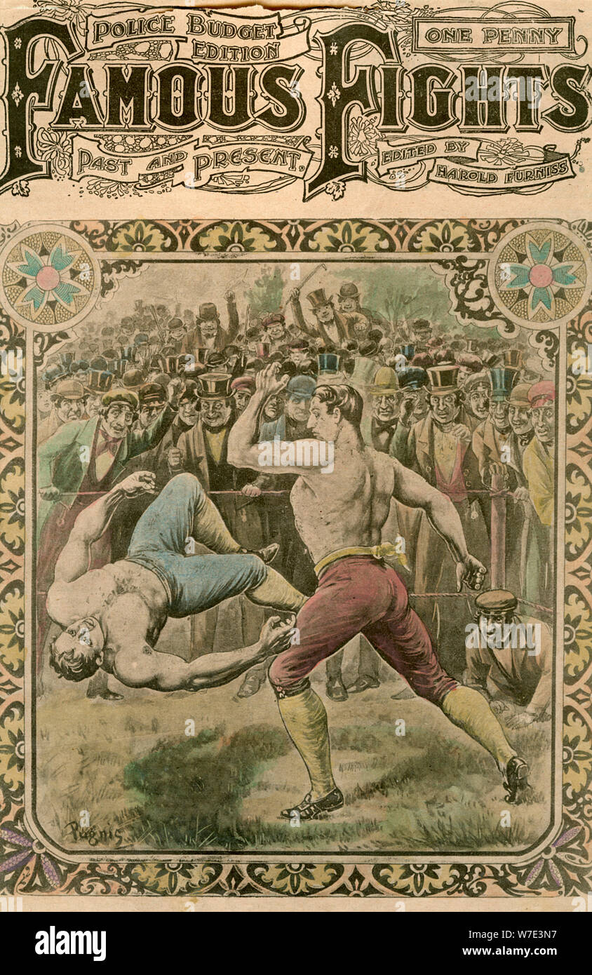 'The fight between Tom Spring and Bill Neat', 1823 (late 19th or early 20th century).Artist: Pugnis Stock Photo
