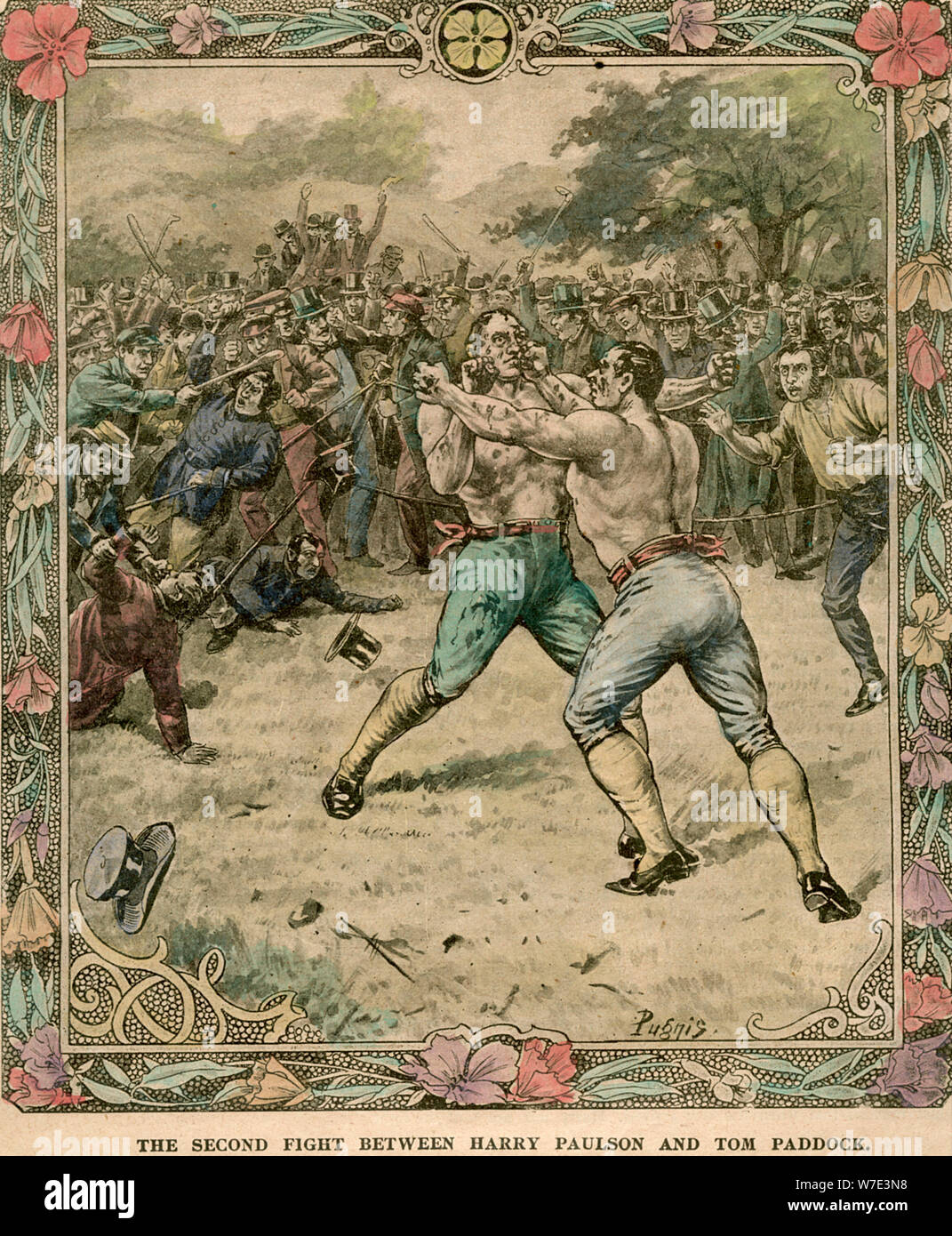 'The second fight between Harry Paulson and Tom Paddock', 1851 (late 19th or early 20th century).Artist: Pugnis Stock Photo