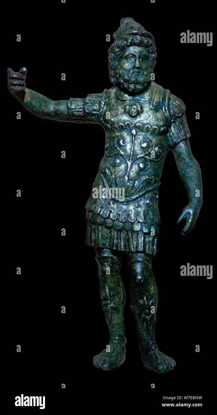 Copper alloy figure of Mars with silver inlay, Roman Britain, 2nd century. Artist: Unknown Stock Photo