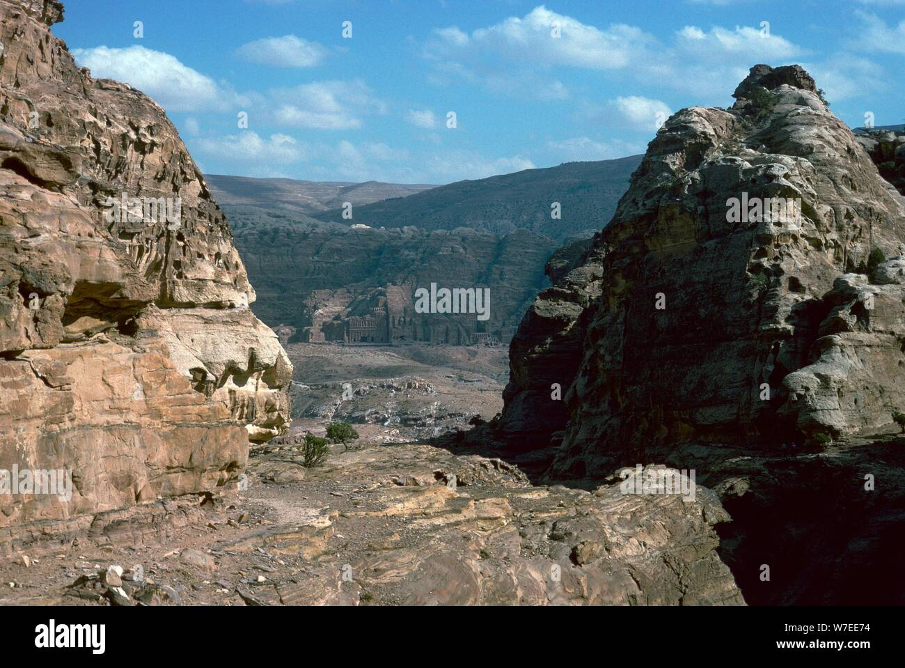 Looking down to the 'Royal Tombs' in Petra. Artist: Unknown Stock Photo