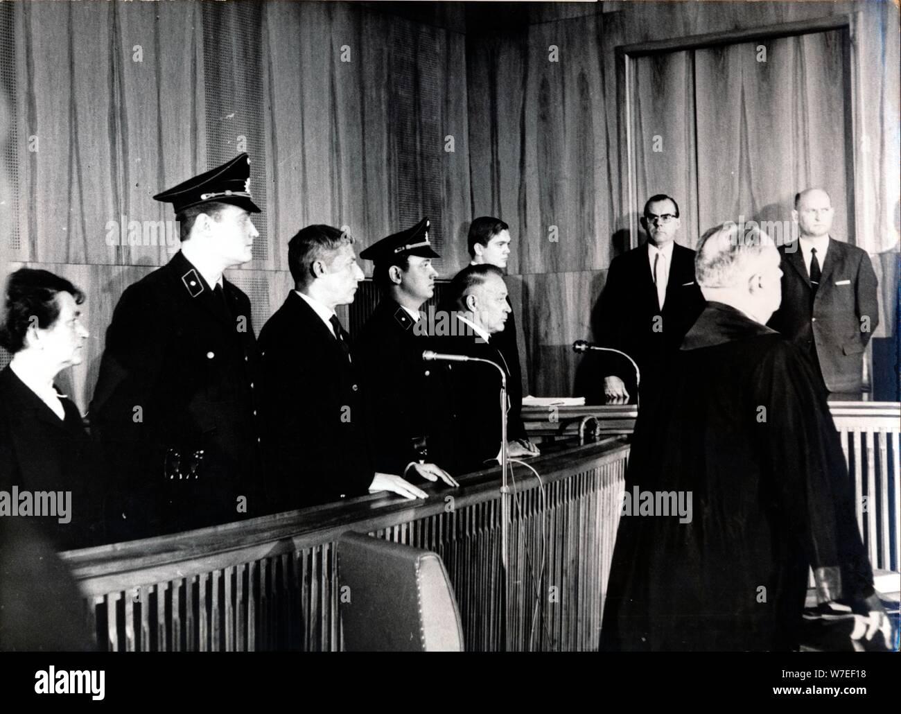 War crimes trial of Wilhelm Harster, Munich, West Germany, 1967. Artist: Unknown Stock Photo