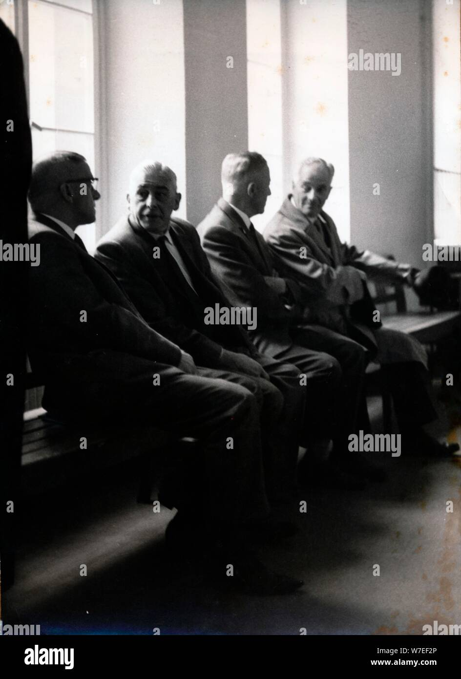 War crimes trial of former SS men, Darmstadt, West Germany, 1967. Artist: Unknown Stock Photo