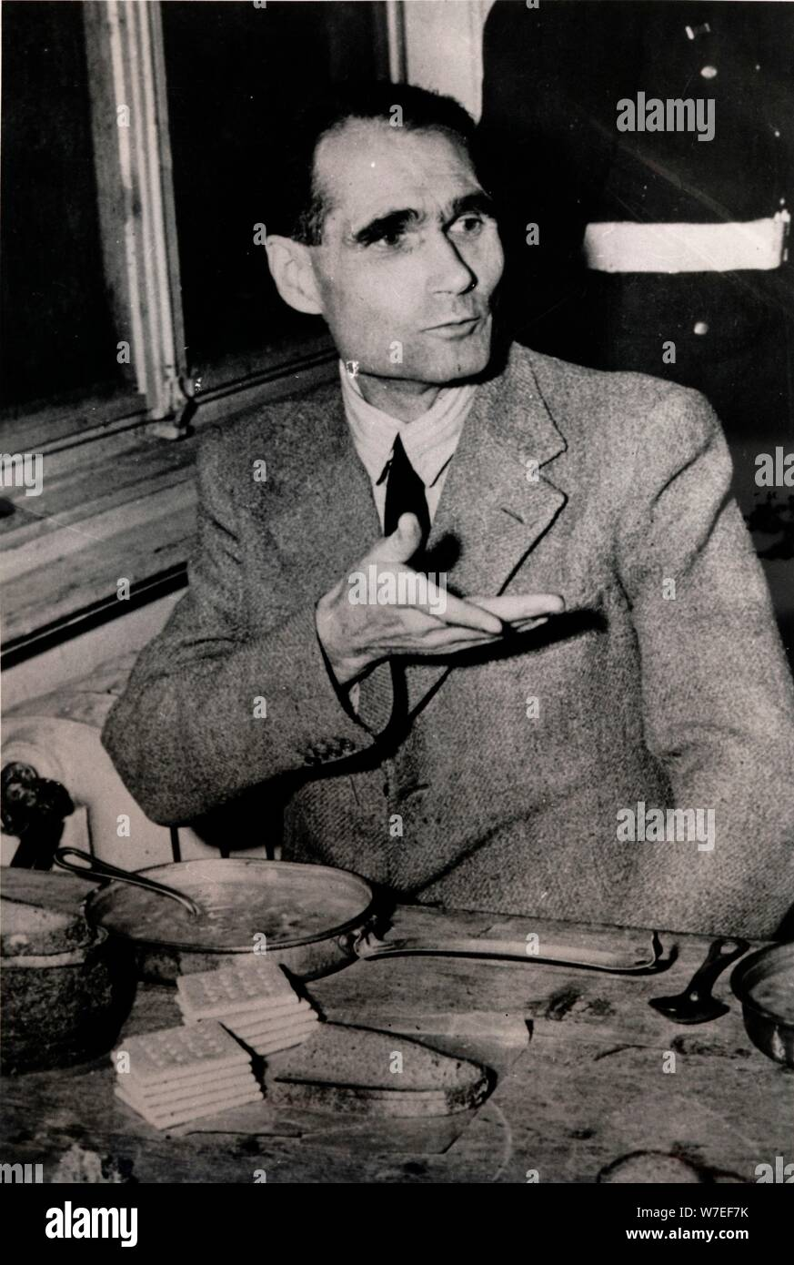 Nazi Deputy Leader Rudolf Hess at the Nuremberg War Crimes Trials, Germany, 1945. Artist: Unknown Stock Photo