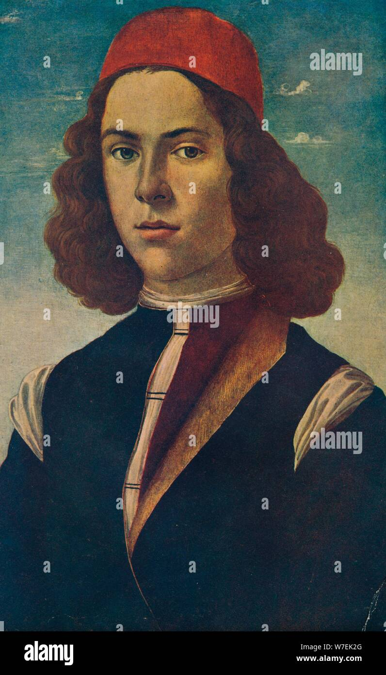 Portrait of a Young Florentine Nobleman, c15th century, (1907). Artist: Sandro Botticelli Stock Photo