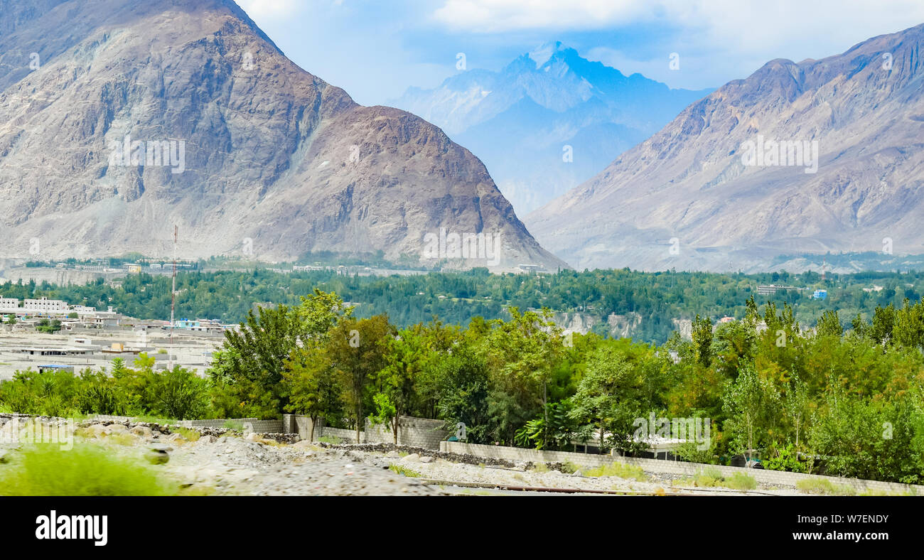 landscape of beautiful mountains and vallies of northern areas of pakistan. Stock Photo