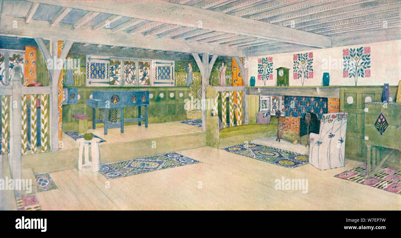 Music Room In A House At Crowborough C1902 Artist Mackay Hugh Baillie Scott Stock Photo Alamy