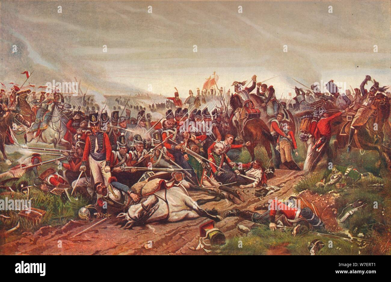 French cuirassiers charging a British infantry square at the Battle of Waterloo, 1815 (1906). Artist: P Jazet. Stock Photo