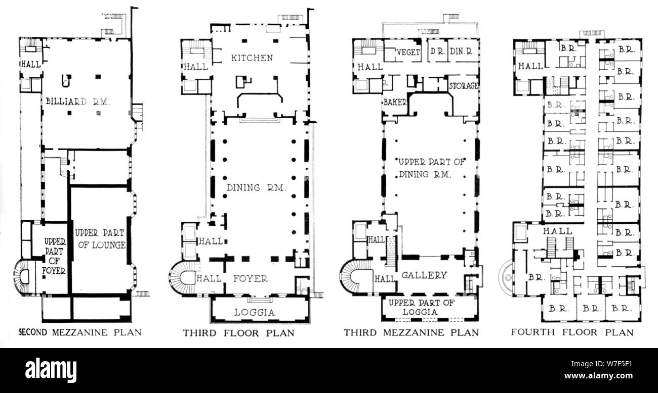 Floor Plans University Club Building Los Angeles California 1923 Artist Unknown Stock Photo Alamy