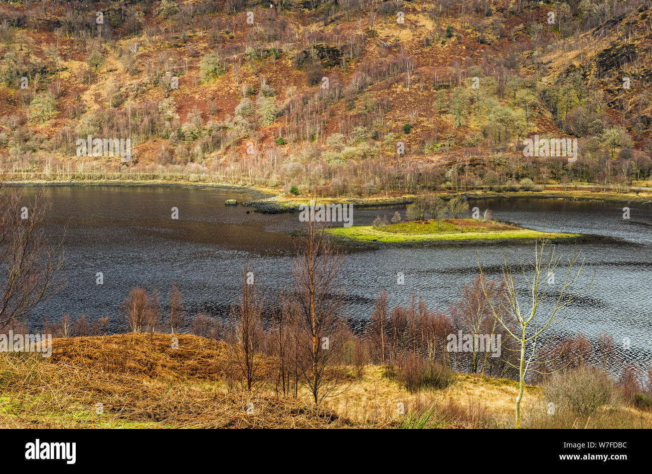 Looking down onto Loch Leven's upper reaches on a February morning in North West Scotland,. Loch Leven is a sea loch and runs into Loch Lhinnie. Stock Photo