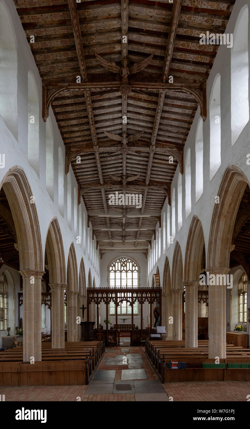 Interior view down nave to chancel with wooden roof, Holy Trinity church, Blythburgh, Suffolk, England, UK Stock Photo
