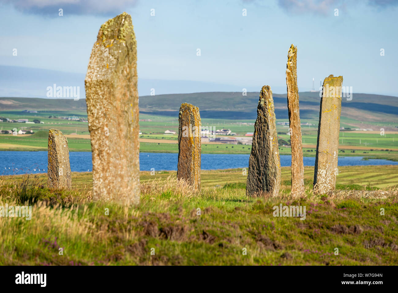 Ring of Brodgar on Orkney on a late summers afternoon Stock Photo