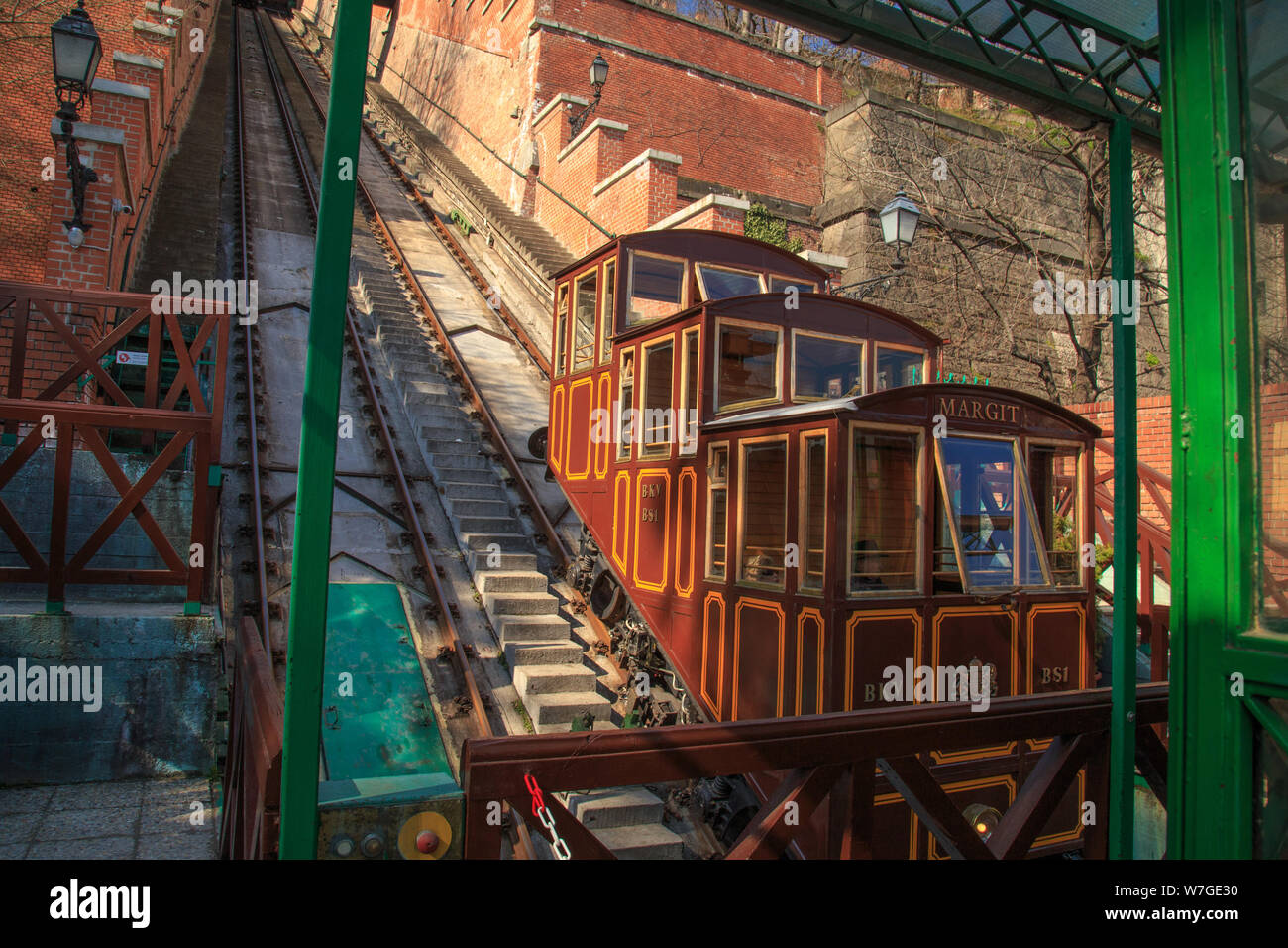 Budapest, Hungary, March 22 2018: Budapest Castle Hill Funicular. Hungary. Vintage carriages are at the last stop. Stock Photo