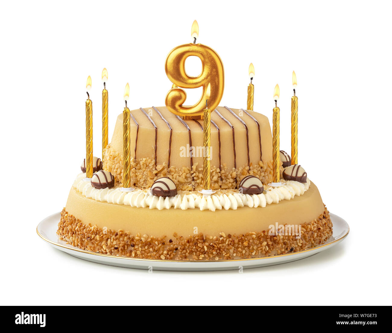 Brilliant Festive Cake With Golden Candles Number 9 Stock Photo 262820519 Funny Birthday Cards Online Sheoxdamsfinfo